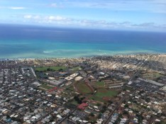The outskirts of Honolulu as we descended toward the airport.