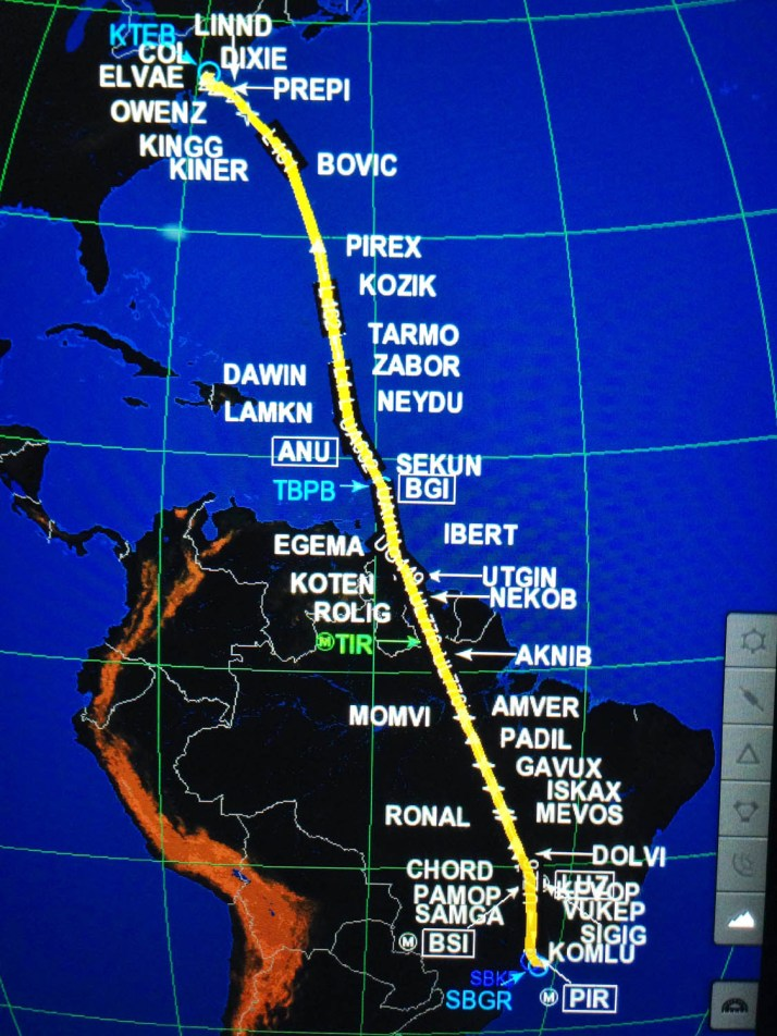 Our route of flight from New York to Sao Paulo, Brazil.