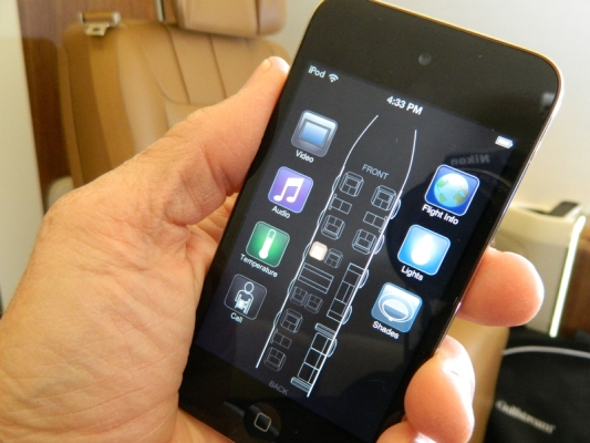 """""""There's an app for that!"""" The Gulfstream Elite cabin can be controlled from iOS devices."""