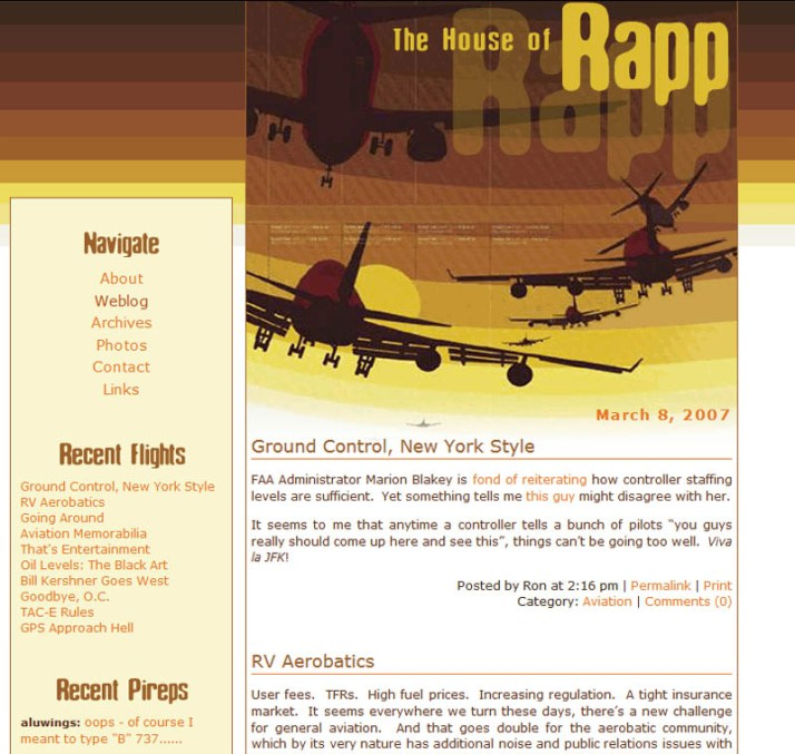 Converted to Movable Type, an (at the time) open source Perl-based CMS and added an aviation-themed skin.