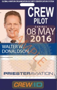 A sample flight crew ID badge