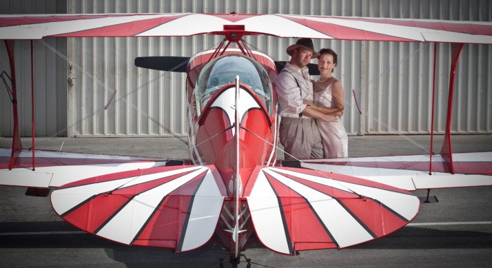 A 1930's-era aviation-themed photo shoot at John Wayne Airport with my wife and our Pitts S-2B biplane