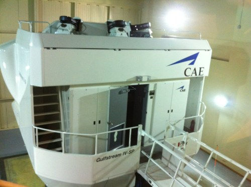 """The Gulfstream IV """"Level D"""" simulator is literally a small building sitting on a bunch of hard-core hydraulics."""