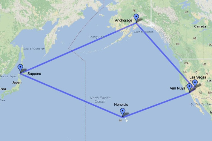 Circling the Pacific Ocean: three days, five cities, and nearly 11,000 miles!