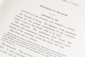 Proceedings in the House of Representatives on the Occasion of the Reception and Acceptance From the State of Texas of the Statues of Sam Houston and Stephen D. Austin.