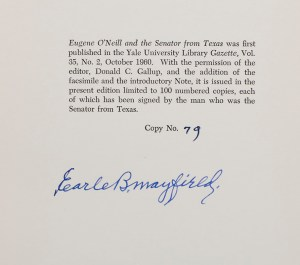 Eugene O'Neill and the Senator From Texas.