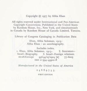 Abba Eban: An Autobiography.