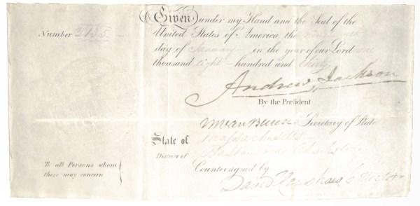 Andrew Jackson and Martin Van Buren Signed Document.