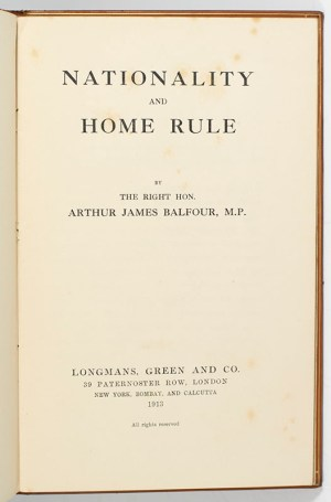 Nationality and Home Rule.