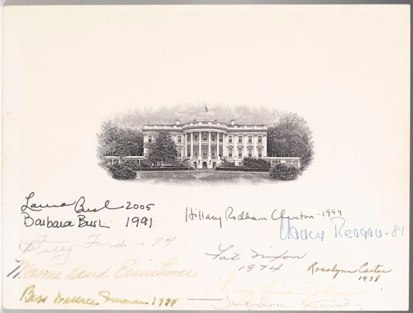Eleven First Ladies Signed White House Engraving.