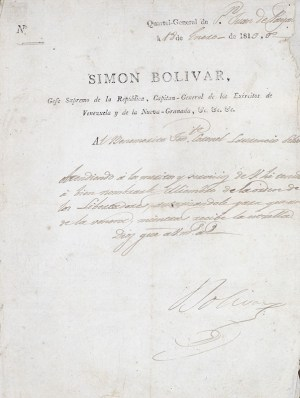 Simón Bolívar Signed Order of the Liberators Appointment.