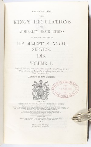The King's Regulations and Admiralty Instructions for the Government of His Majesty's Naval Service.