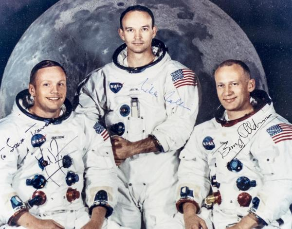 Signed Photograph Neil Armstrong, Michael Collins and Buzz ...