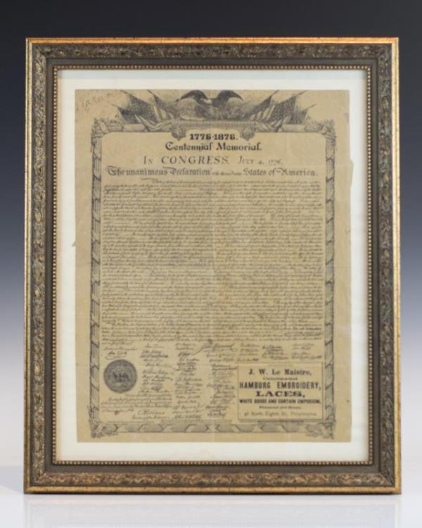 Declaration of Independence Centennial Memorial Broadside.