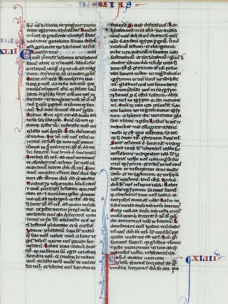 Medieval Manuscript Leaf From the Book of Jermemiah.