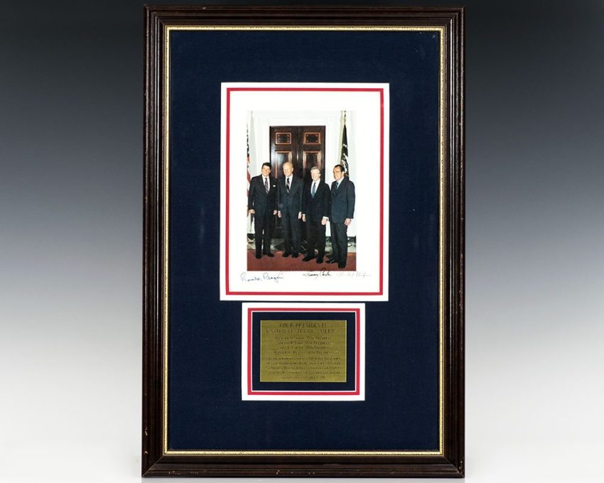 Photograph of Presidents Ronald Reagan, Gerald Ford, Jimmy Carter and Richard Nixon.