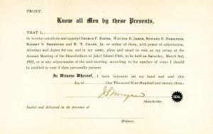 John Pierpont Morgan Signed Proxy At Jeckyl Island.