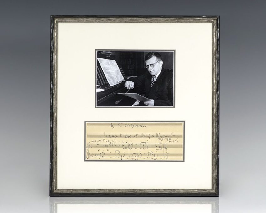 Dmitri Shostakovich Autograph Musical Quotation Signed.