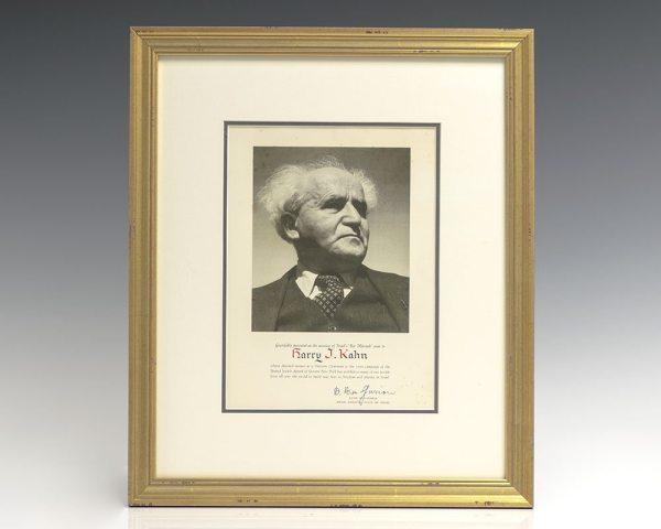 David Ben-Gurion Signed Photograph.