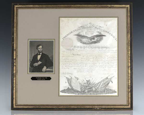 Abraham Lincoln Military Commission Signed.