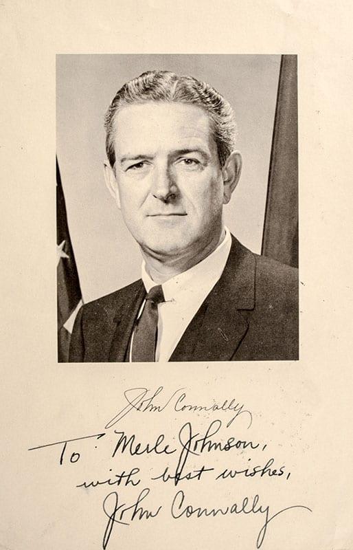 John Connally Signed Photograph.