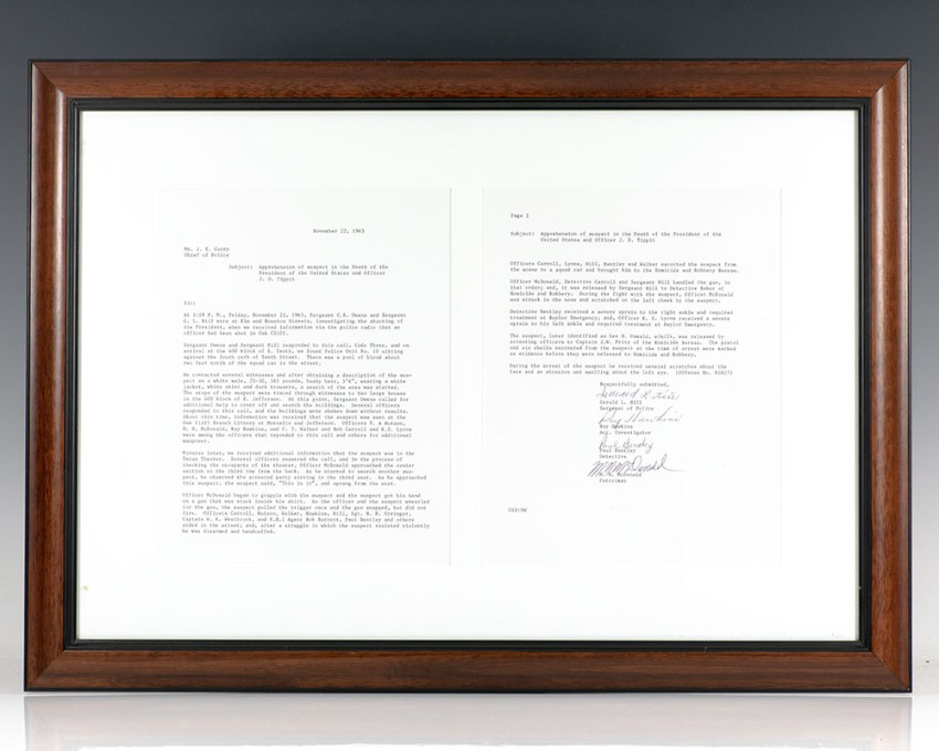 Autograph Letter Signed Regarding the Assassination of President John F. Kennedy and Apprehension of Lee Harvey Oswald.