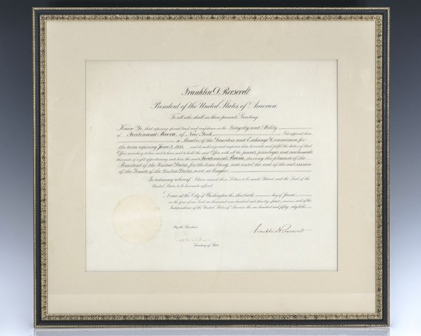 Ferdinand Pecora Appointment To The Securities and Exchange Commission by Franklin Roosevelt.