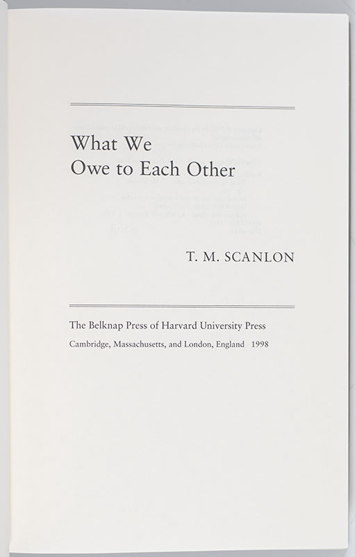 What Do We Owe To Each Other : other, Other, Scanlon, First, Edition, Signed