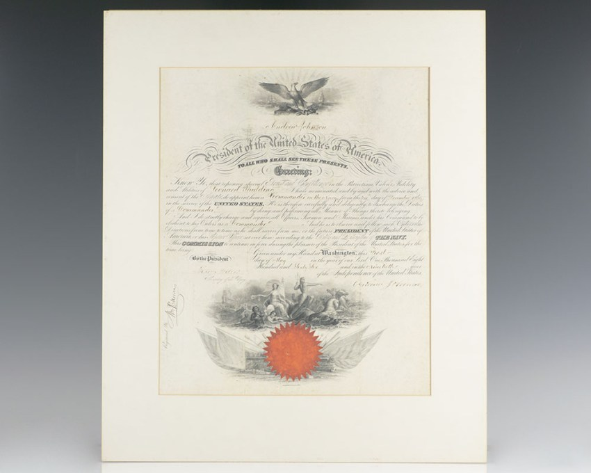 Andrew Johnson Naval Commission Signed.