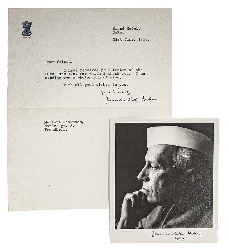 Jawaharlal Nehru Photograph Signed.