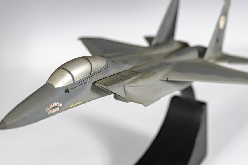 Chuck Yeager Signed Glamorous Glennis III F-15 Aircraft Model.