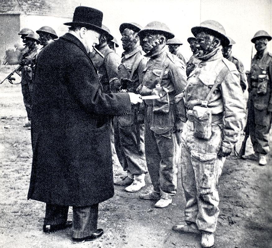 Winston Churchill rallying British Troops in 1940
