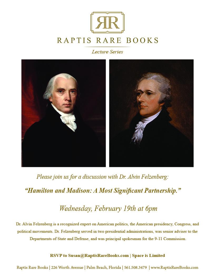 Raptis Rare Books Lecture Series 2020 Felzenberg Hamilton