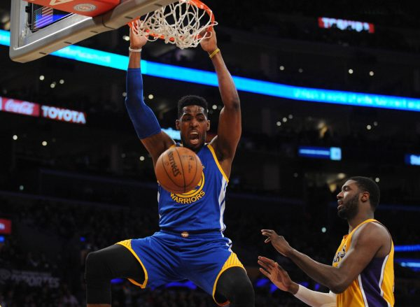 January 5, 2016; Los Angeles, CA, USA; Golden State Warriors forward Jason Thompson (1) dunks to score a basket against Los Angeles Lakers during the first half at Staples Center. Mandatory Credit: Gary A. Vasquez-USA TODAY Sports