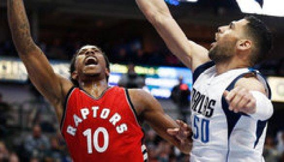 DeMar DeRozan of the Toronto Raptors takes it hard to the rim