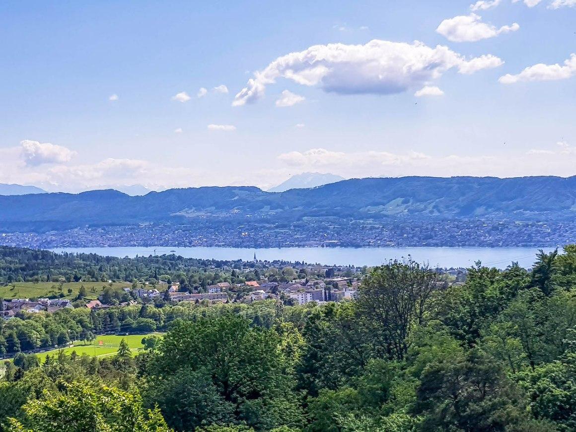 Uitzicht vanaf de Loorenkopf naar het meer van Zürich.