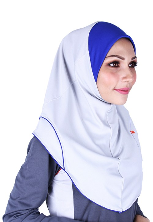 Raqtive Sport Hijab grey royal blue b221