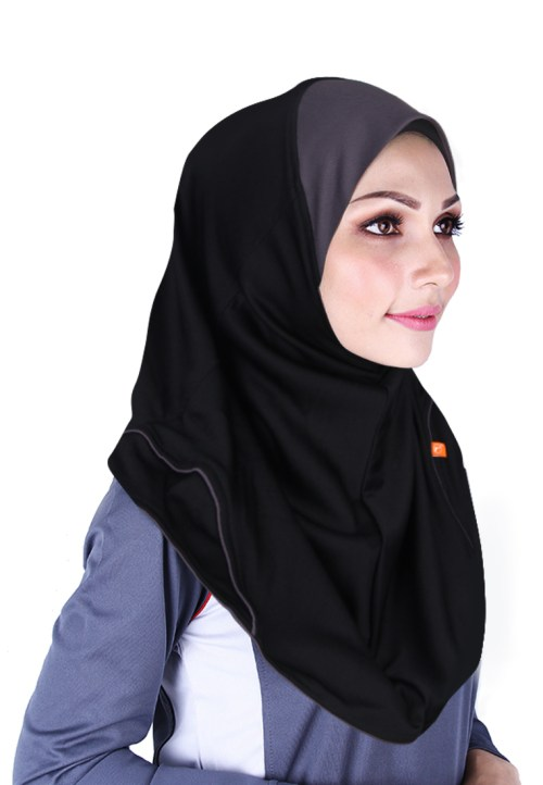 Raqtive Sport Hijab Black Dark Grey b203