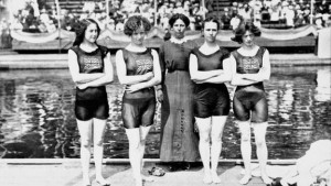 The British women's 4x100 metre freestyle relay team at the 1912 Stockholm Olympic Games