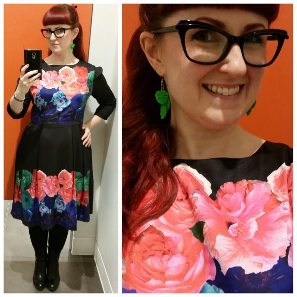Lori wearing a Wolf & Whistle floral border print dress