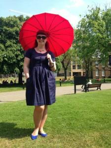Lori with an Edwardian parasol style umbrella