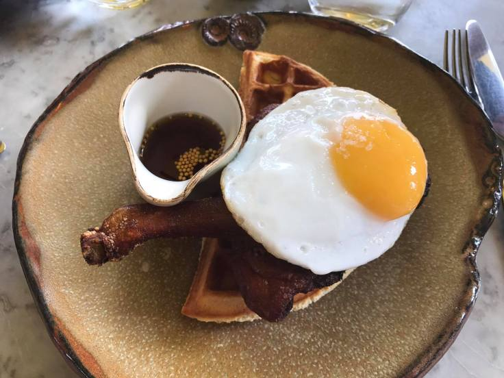 A close up of that legendary Duck & Waffle dish