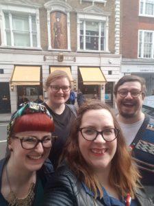Traditional Brunch Club selfie, outside Fischer's
