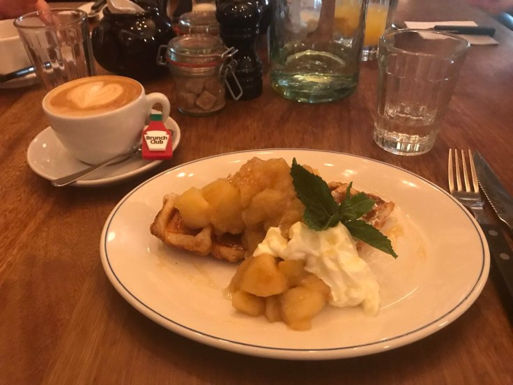 Eleanor's croissant waffle with apple compote, yoghurt and honey.