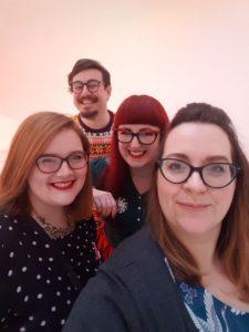 Brunch Club selfie on the bathroom stairs at Sketch