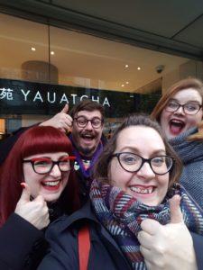 Brunch Club selfie outside Yauatcha