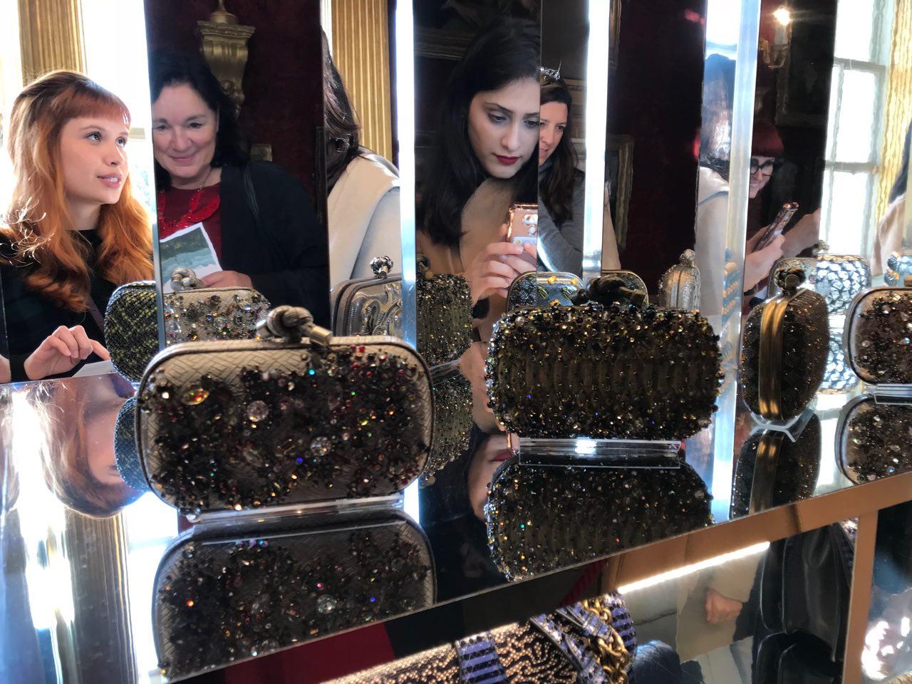 Bottega Veneta clutch bags displayed like precious jewels