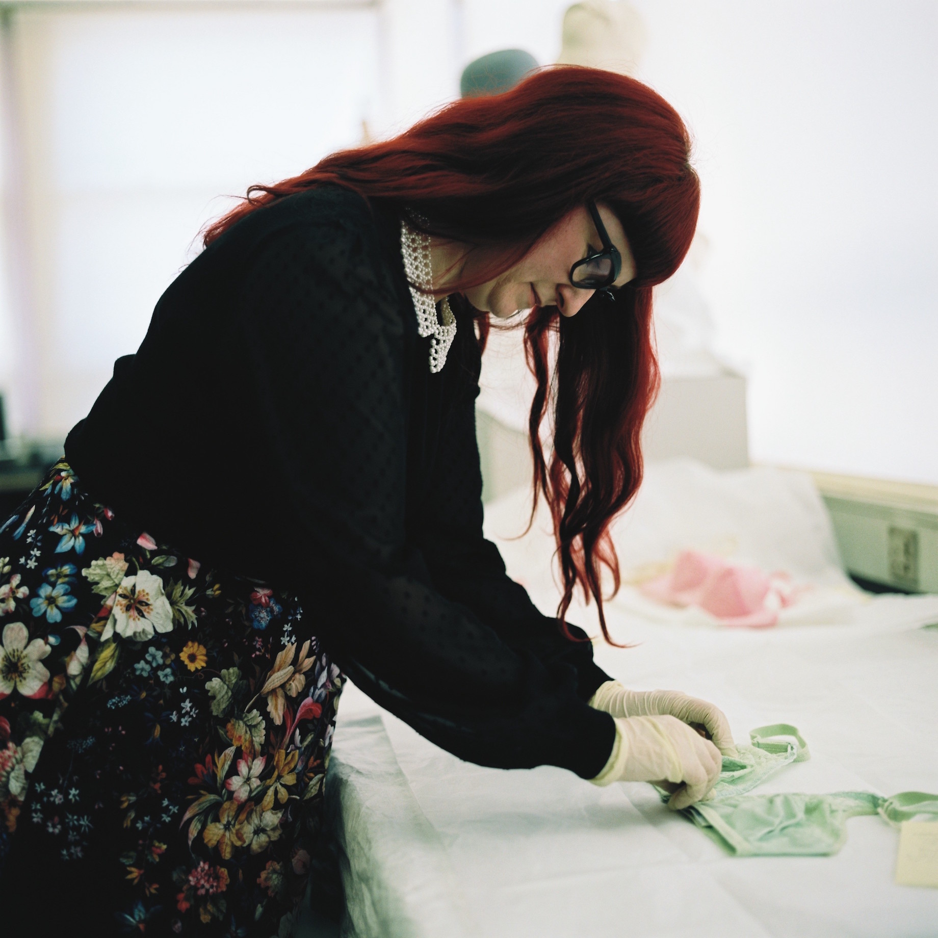 Handling objects in the London College of Fashion Archives. Photography by Francesca Tye.