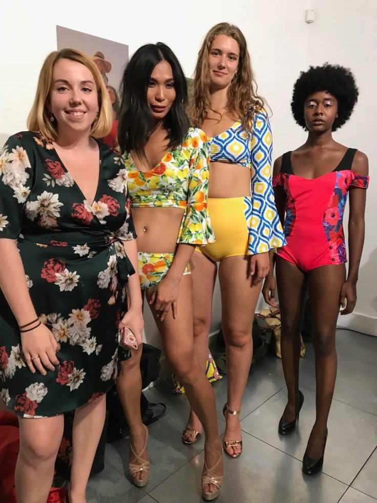 Laurie Whiteley with models wearing swimwear from her graduate collection