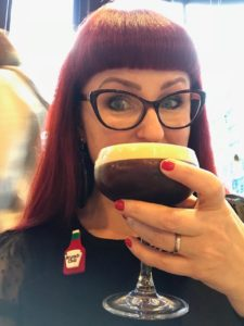 Lori enjoying a Caravan espresso martini